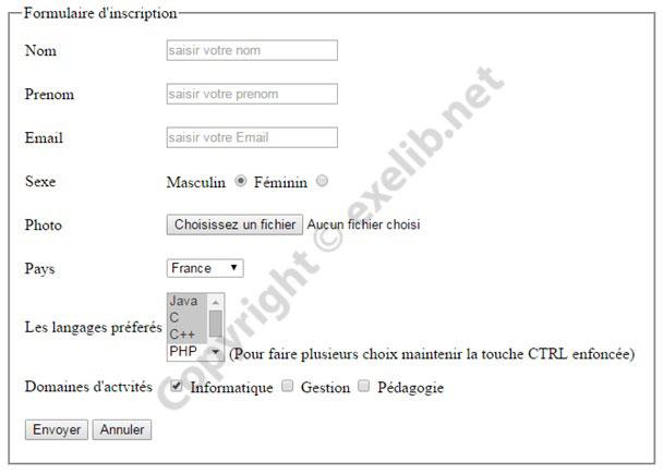 Cr er un formulaire d 39 inscription en html html cours for D et co inscription
